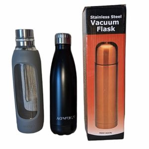 Bundle of 3 Thermos and Glass Water Bottle